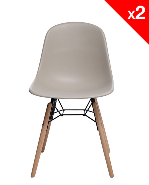 KUTA Lot de 2 chaises design DSW scandinave - kayelles