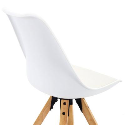 Chaise cuisine bois style Scandinave (Blanc) x2
