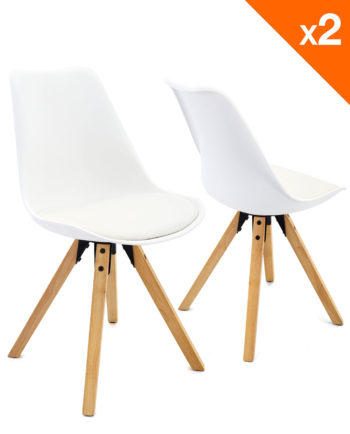 chaise scandinave avec coussin CLEA blanc - Lot de 2