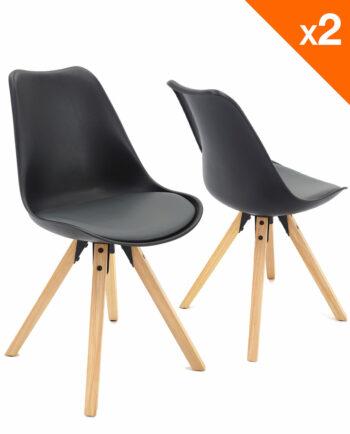 chaise scandinave avec coussin CLEA noir et gris - Lot de 2
