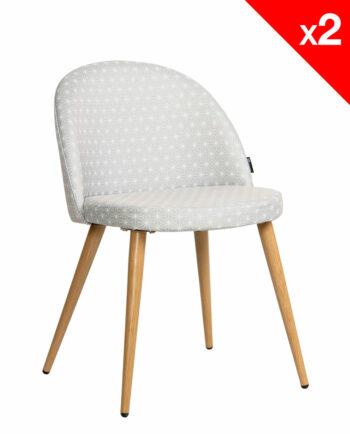 Chaise scandinave rétro Giza tissu gris étoiles - lot 2 chaises vintage moderne