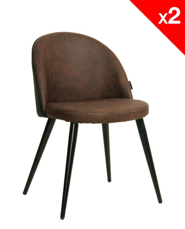 Chaise vintage Giza - métal et microfibre - Salle à manger, cuisine (Marron Antique)