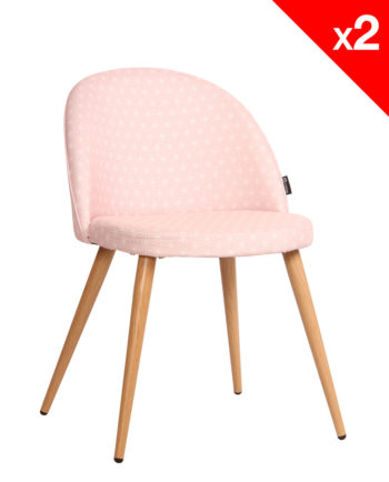 Chaise scandinave rétro Giza tissu rose étoiles - lot 2 chaises vintage moderne
