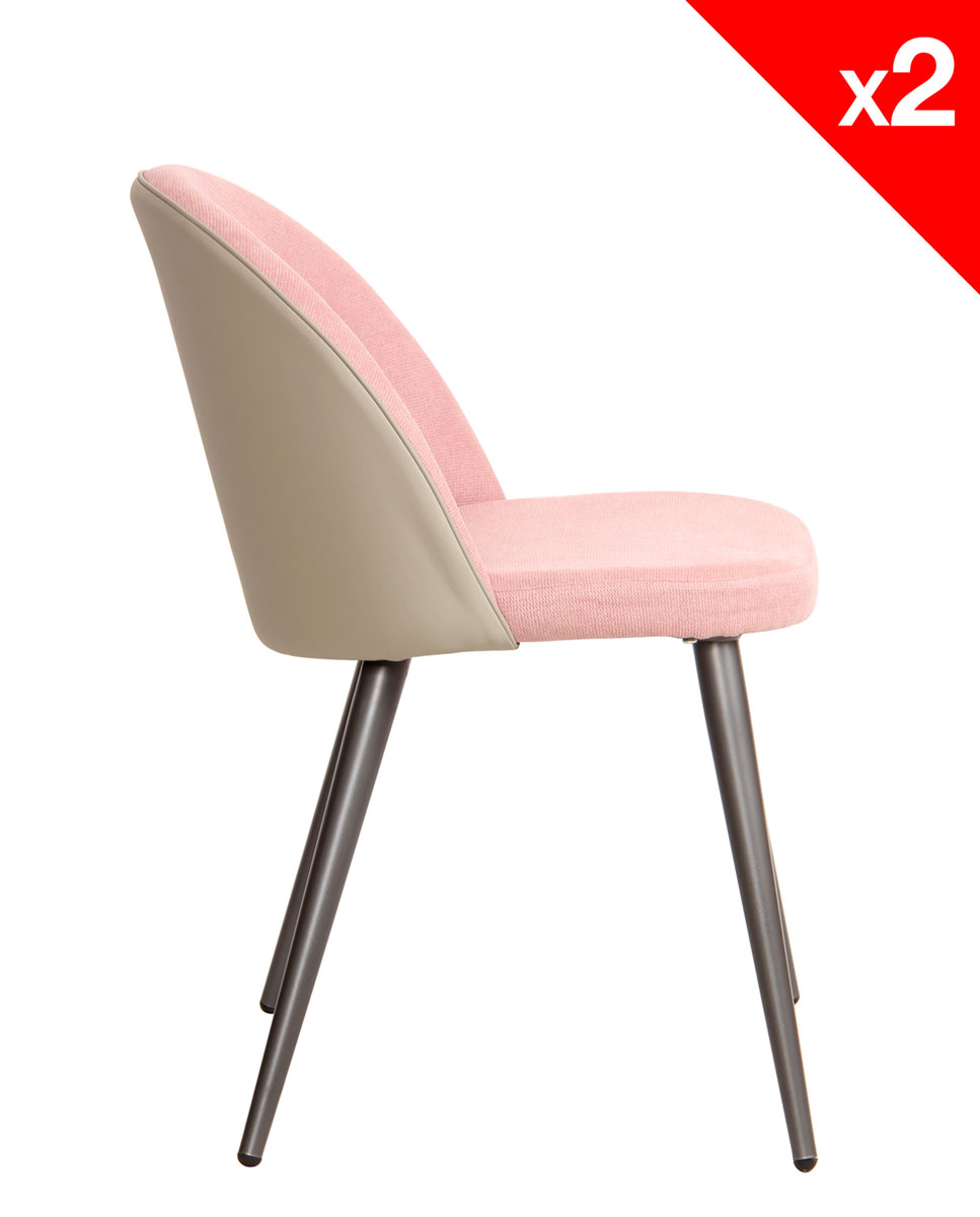 Chaise vintage m tal et tissu rose gaufr lot de 2 for Chaises cocktail scandinave