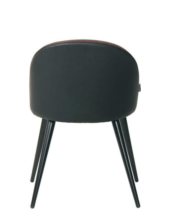 Chaise vintage Giza - Cuisine, Salle à manger - style rétro (Marron Antique et PU noir)