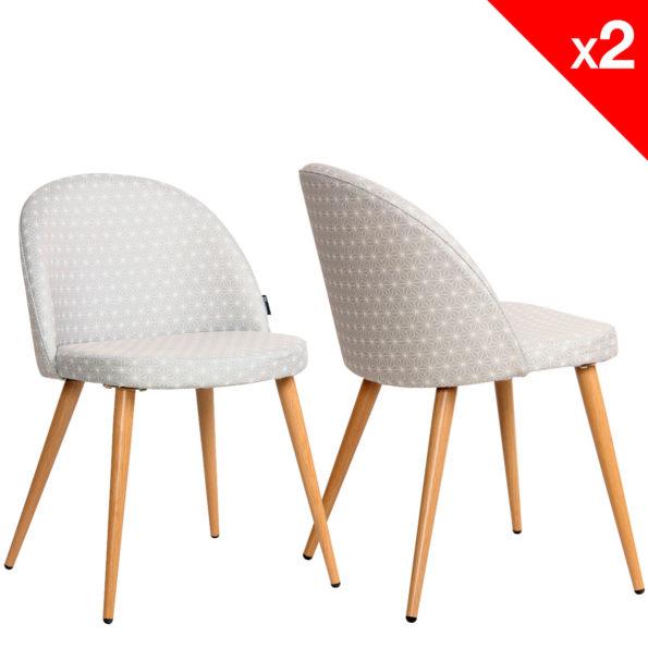 Chaise scandinave rétro Giza tissu gris étoiles - lot 2 chaises vintage