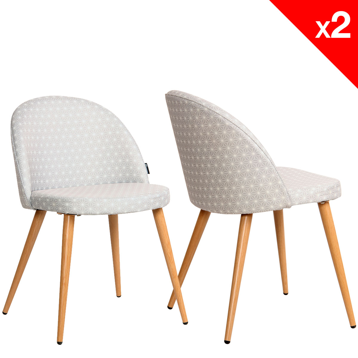 Chaise scandinave vintage tissu toiles lot de 2 giza for Chaise scandinave tissu
