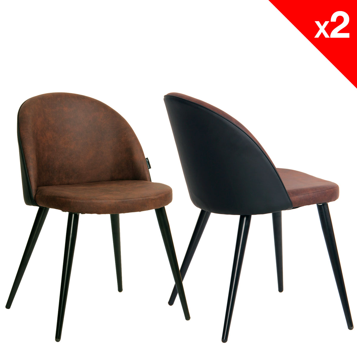 chaise vintage m tal et microfibre lot de 2 giza. Black Bedroom Furniture Sets. Home Design Ideas