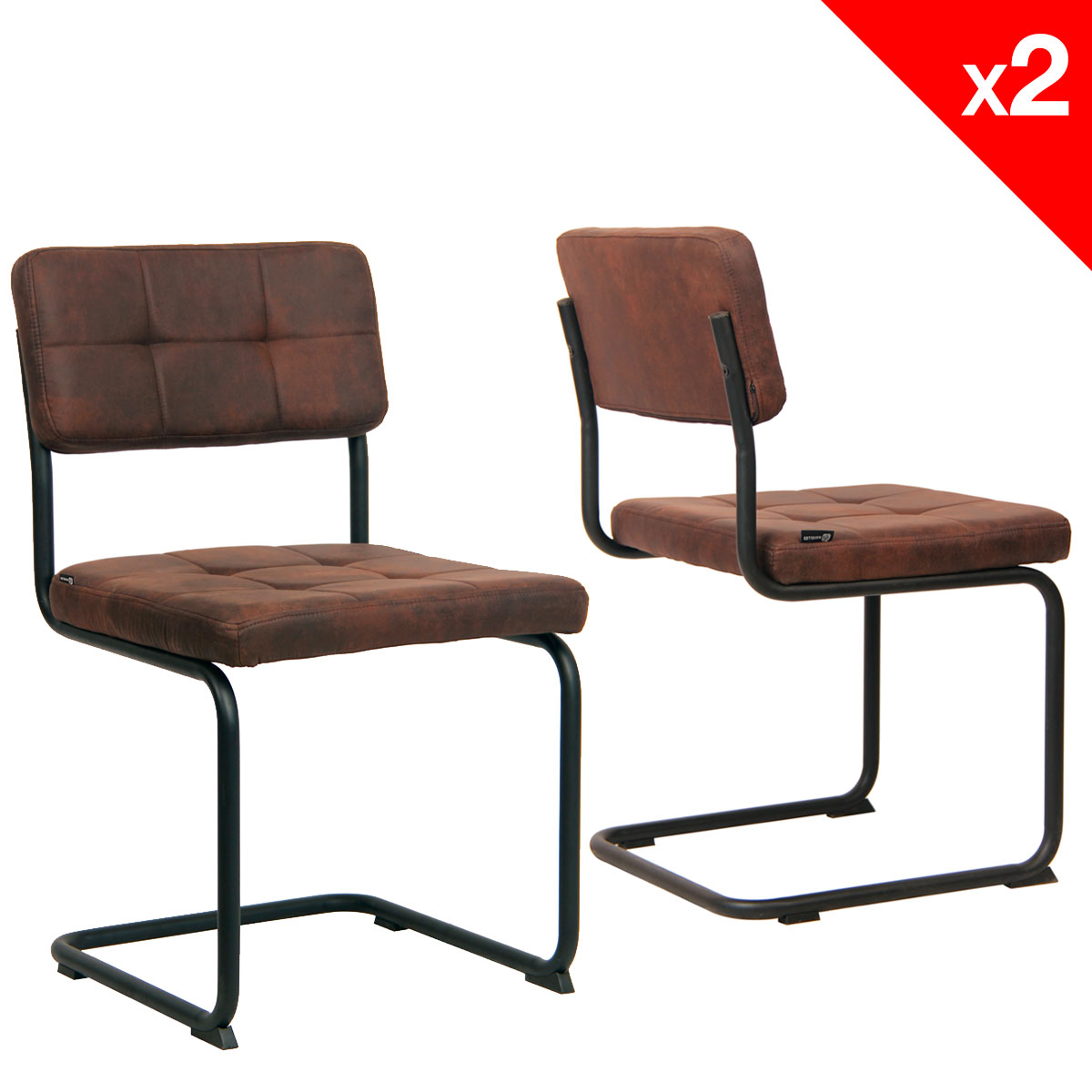 Chaise vintage matelass e lot de 2 safi for Chaise salle a manger retro