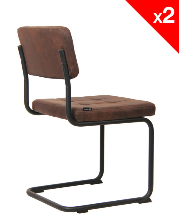 Chaise Vintage style industriel SAFi (Marron vieilli)