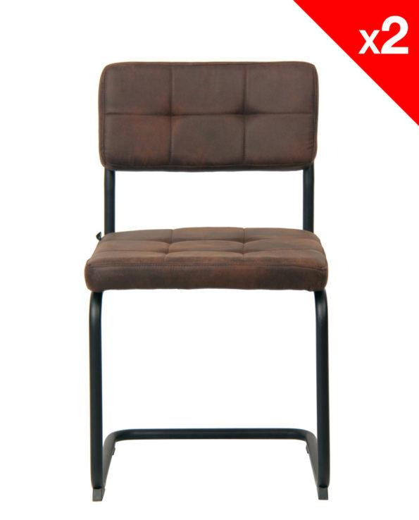 Chaise Vintage SAFI - lot de 2 chaises industrielles marron
