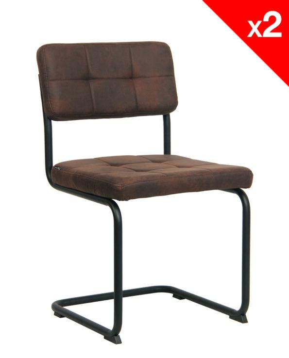 Chaise Vintage SAFI - lot de 2 chaises design marron