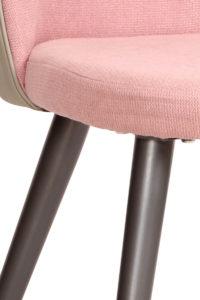 Chaise Vintage GIZA - Rose gaufré, PU Gris, métal gris anthracite
