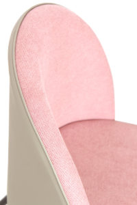 Chaise Cocktail Vintage GIZA - Rose gaufré et PU Gris