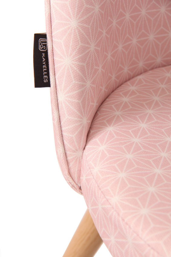kayelles chaises scandinaves rtro tissu rose toiles - Chaise Scandinave Rose