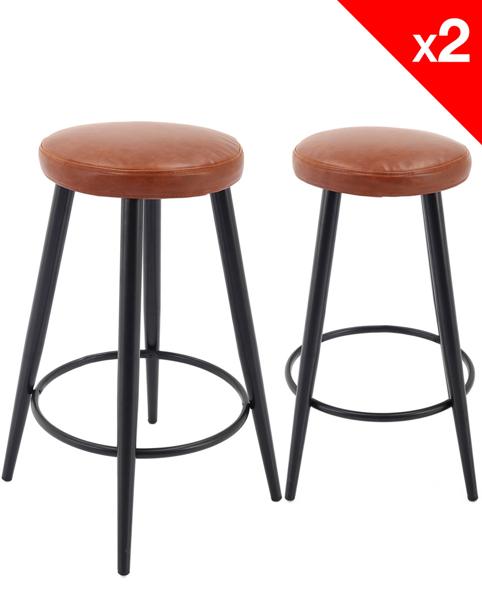 tabouret de bar vintage pi tement m tal lot de 2 clif. Black Bedroom Furniture Sets. Home Design Ideas
