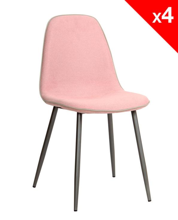 Chaise salle à manger design moderne tissu et métal