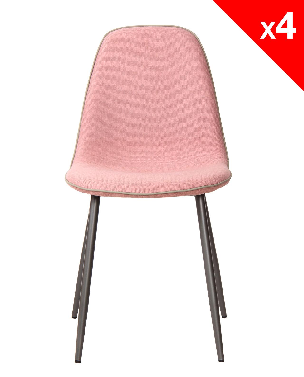 Chaises design tissu et m tal lot de 4 184 9 roxy for Chaise sejour moderne
