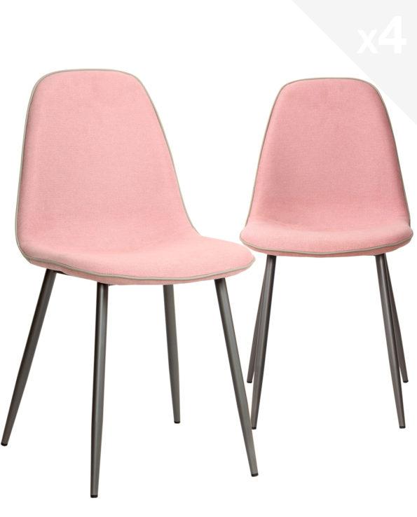 chaises-salle-a-manger-design-moderne-lot-de-4-tissu-gaufre-rose