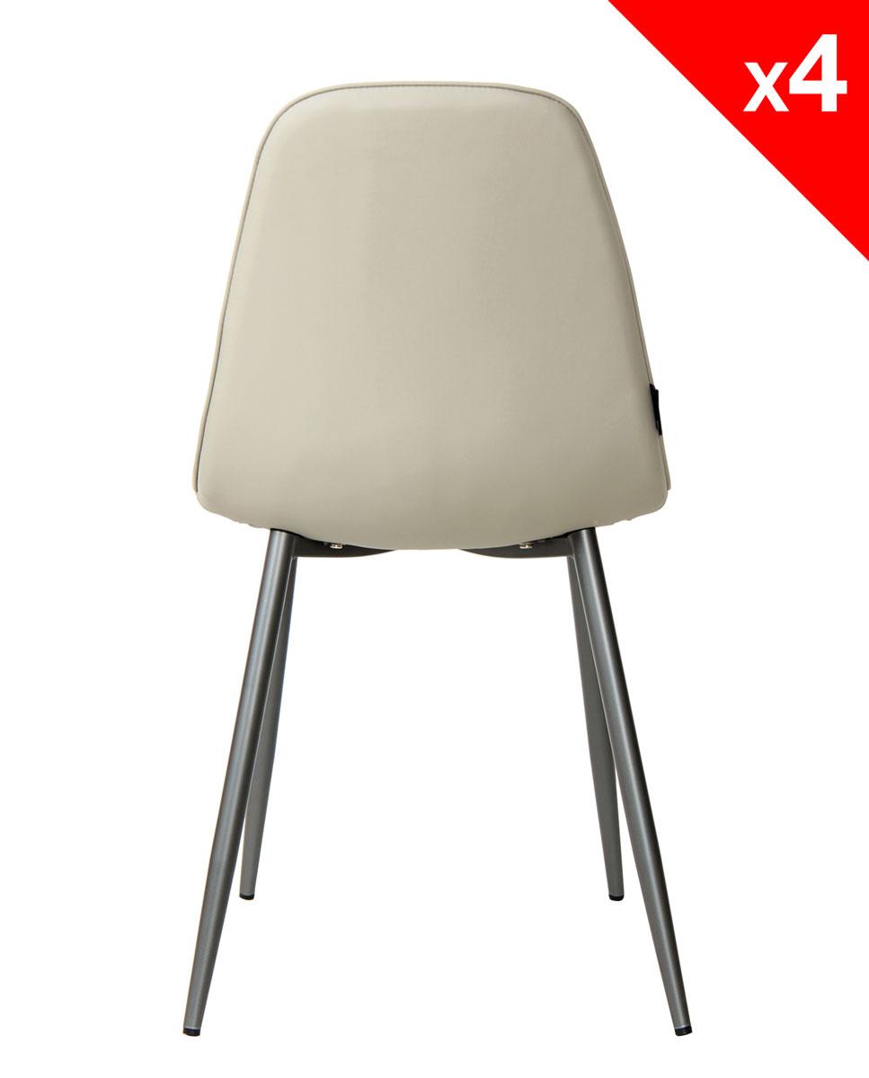Chaises design tissu et m tal lot de 4 184 9 roxy for Lot 4 chaises salle manger