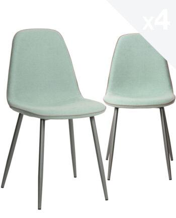 lot-4-Chaises-design-tissu-metal-bleu-gauffre-salle-a-manger