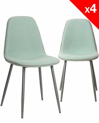 ROXY Lot de 4 Chaises Design tissu gauffré bleu et métal - Salle à manger KAYELLES