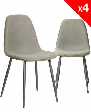 ROXY Lot de 4 Chaises Design tissu gauffré gris et métal - Salle à manger KAYELLES