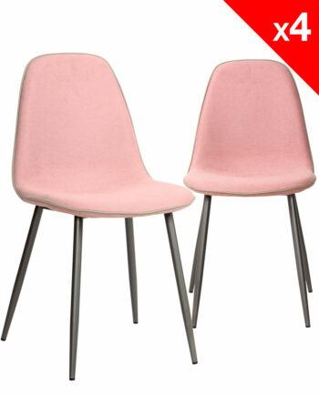 ROXY Lot de 4 Chaises Design tissu gauffré rose et métal - Salle à manger KAYELLES