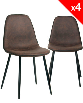 ROXY Lot de 4 Chaises Design tissu microfibre marron vintage et métal - Salle à manger KAYELLES