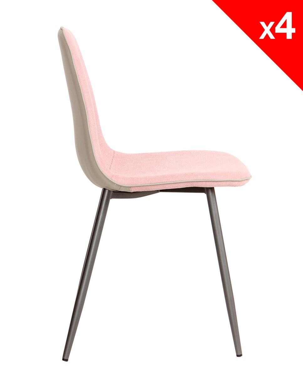Chaises Design Tissu Et Metal Lot De 4 184 9 Roxy Kayelles Com