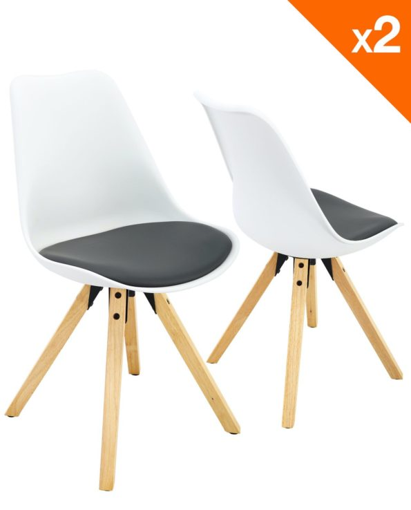 Chaises scandinave Clea Lot de 2 chaises - cuisine - salle à manger ( blanc et gris )