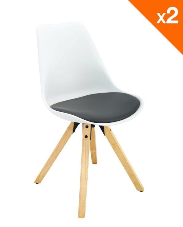 Chaise scandinave Clea Lot de 2 chaises - cuisine - salle à manger ( blanc et gris )
