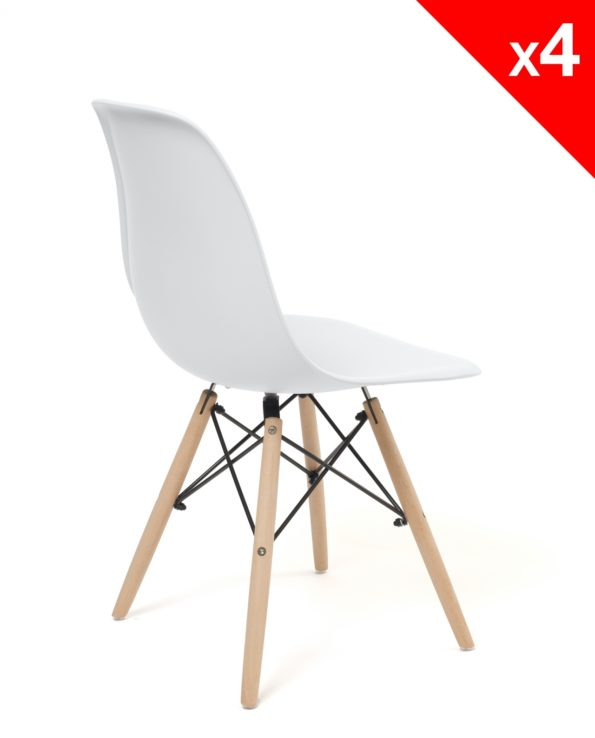 chaise design cuisine dsw scandinave - blanc - kayelles