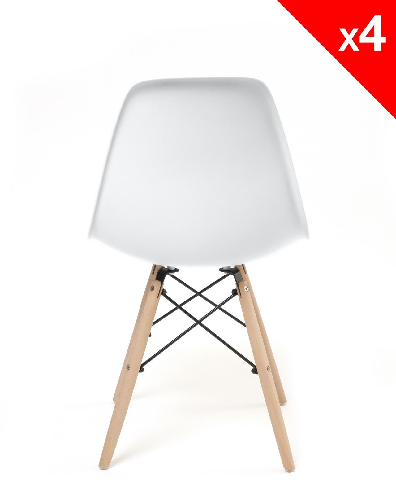 Neo lot de 4 chaises design pi tement h tre for Chaise salle manger blanc pas cher