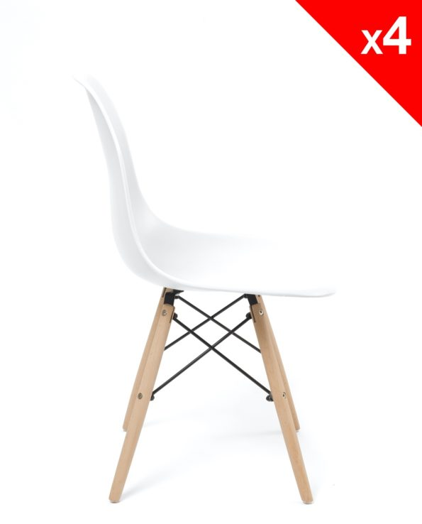 lot 4 chaises scandinave pas cher - neo kayelles - blanc