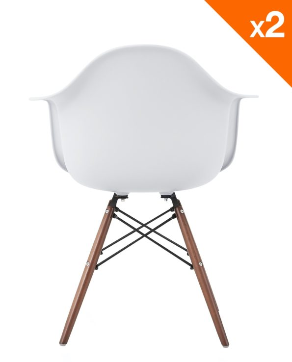 NEPAL Chaises DAW Scandinave pietement noyer - Blanc - Lot de 2
