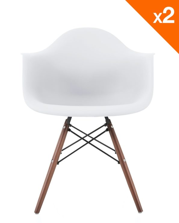NEPAL Fauteuil Scandinave pietement noyer - Blanc - Lot de 2