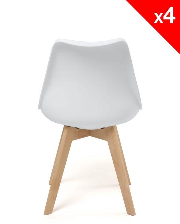 LAO chaise scandinave (Blanc) avec coussin