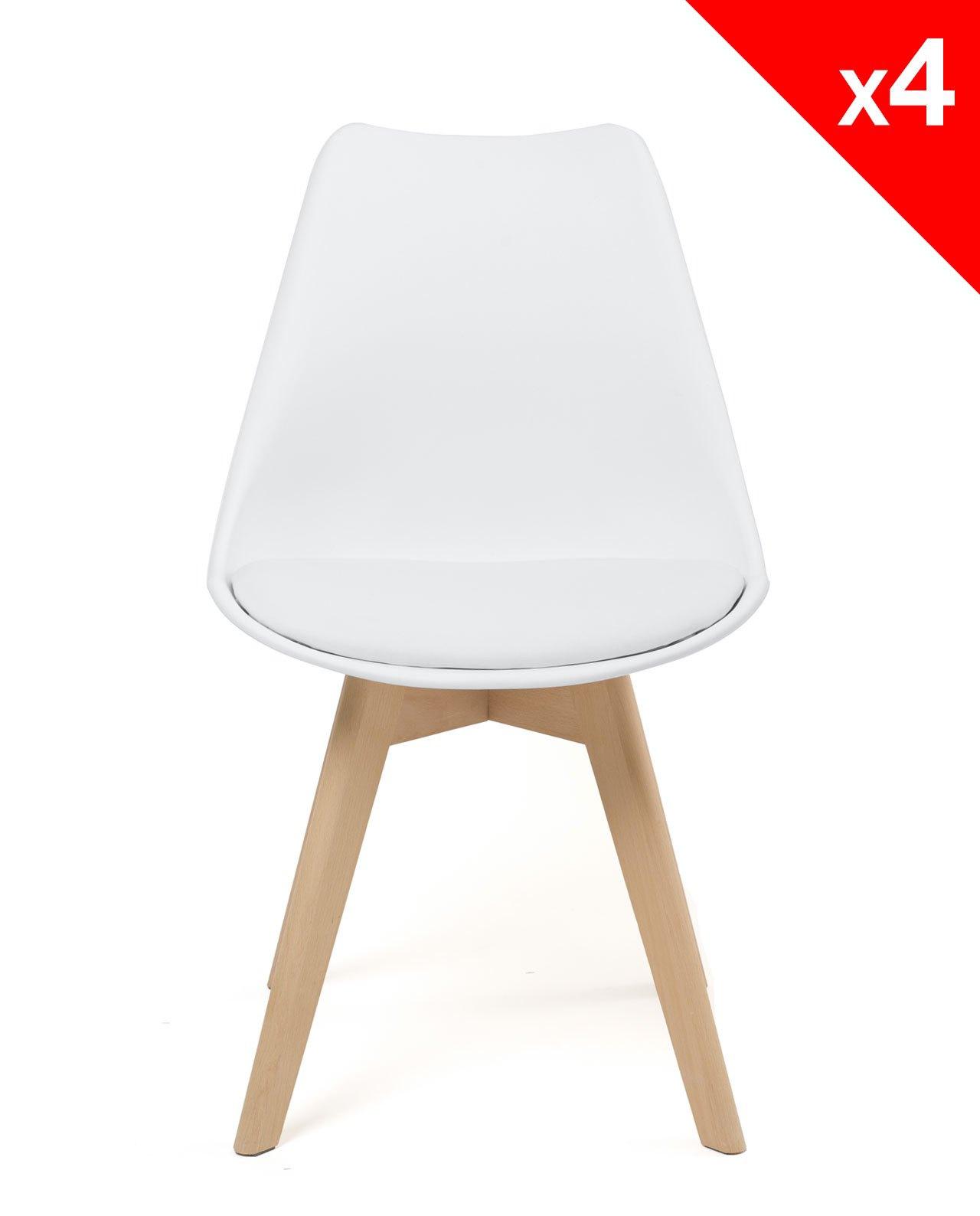 Lao lot de 4 chaises scandinave rembourr es - Chaise nordique ...