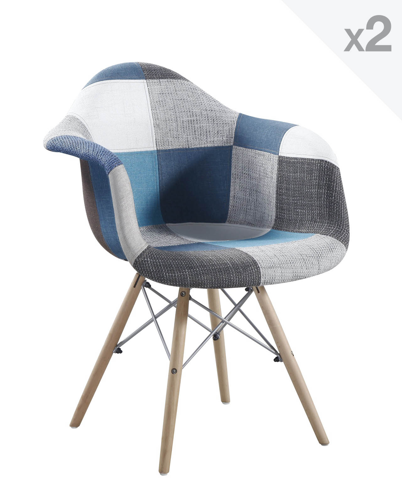 nador lot de 2 fauteuils design daw patchwork. Black Bedroom Furniture Sets. Home Design Ideas
