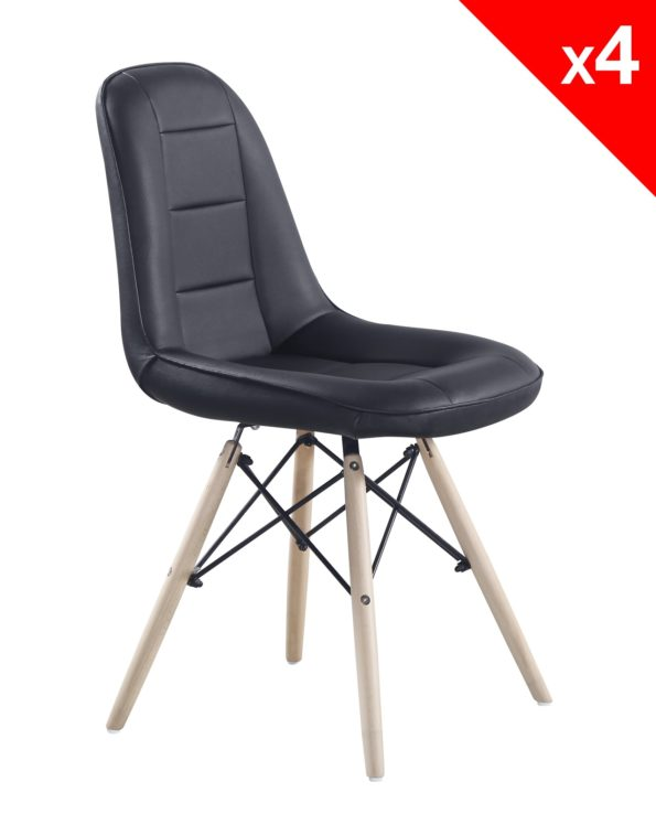 chaise scandinave dsw - KONG - noir lot de 4
