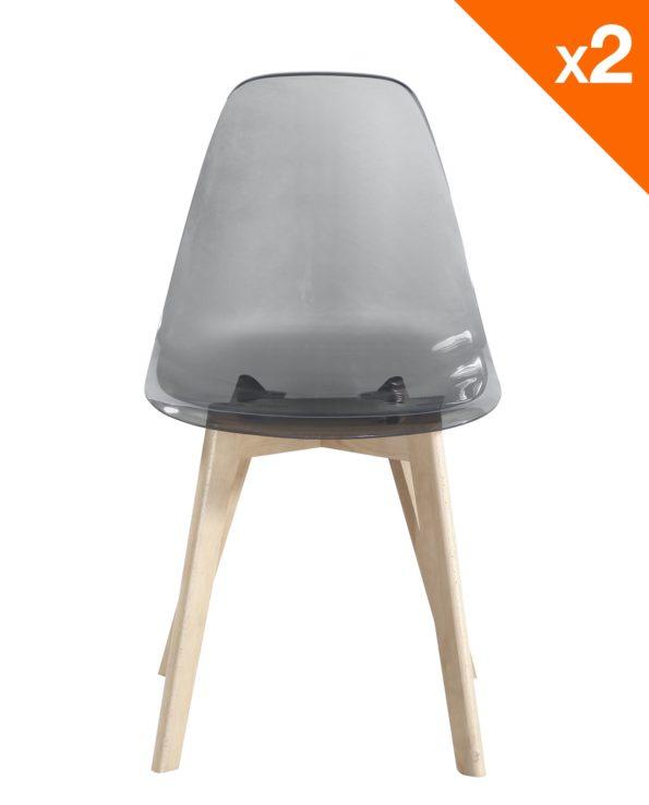 chaise scandinave design gris fumé - LAO