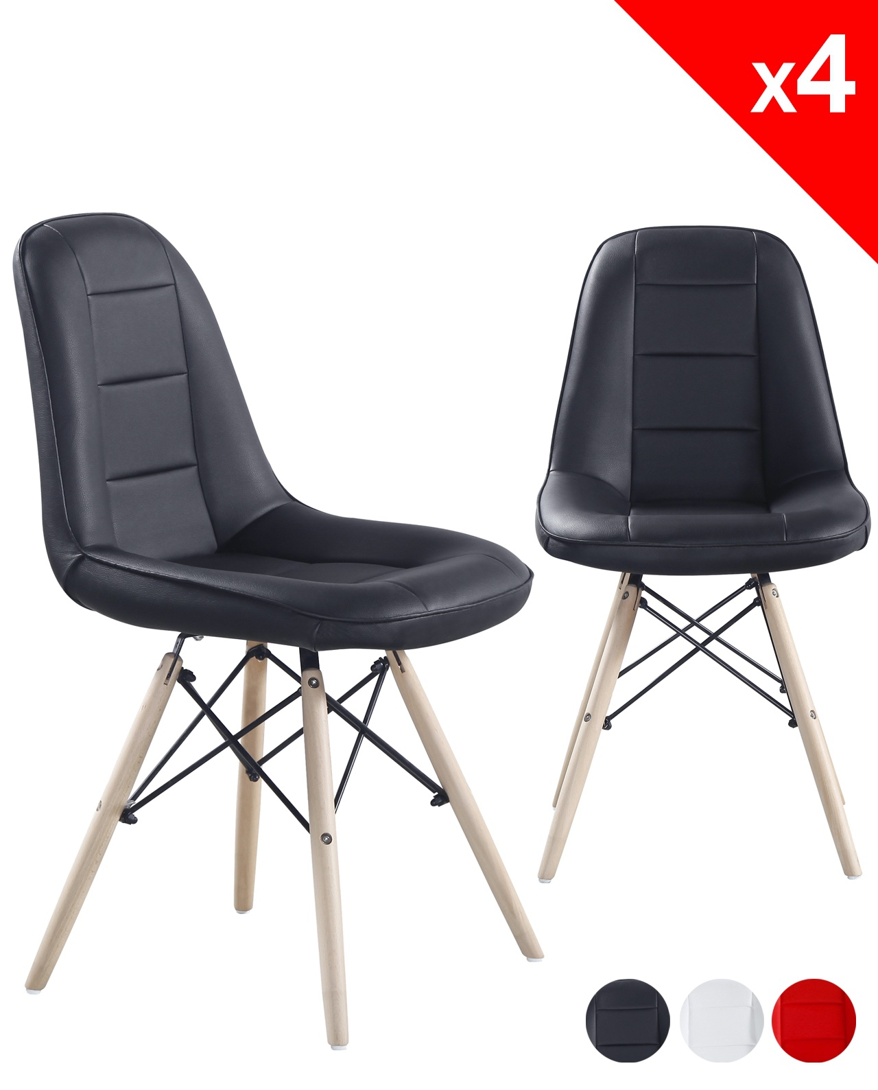 kong chaise scandinave matelass e lot de 4. Black Bedroom Furniture Sets. Home Design Ideas