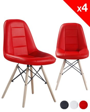 chaise scandinave matelasse - KONG - rouge lot de 4
