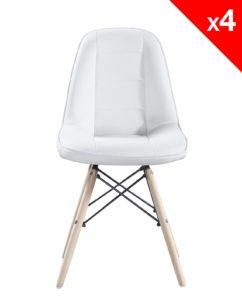 chaise scandinave matelasse - Kayelles - blanc lot de 4