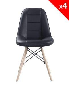 chaise scandinave matelasse - Kayelles - noir lot de 4