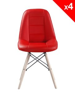 chaise scandinave matelasse - Kayelles - rouge lot de 4