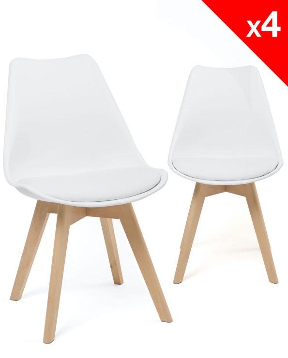 Lot de 4 chaises scandinave rembourrées (Blanc) Kayelles LAO
