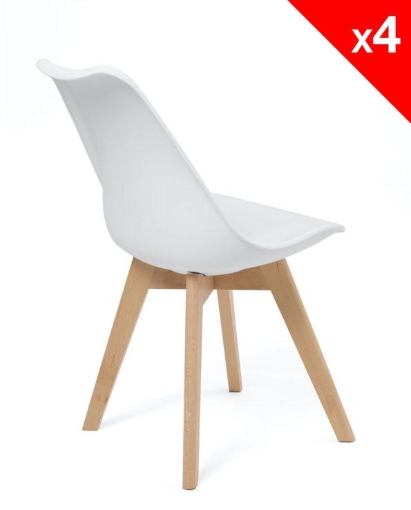 Chaises blanches - Lot de 4 - Cuisine, salle à manger - LAO