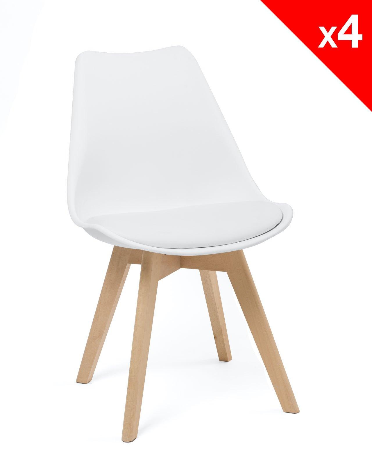 lao lot de 4 chaises scandinave rembourr es. Black Bedroom Furniture Sets. Home Design Ideas